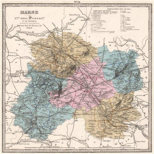Associate Product MARNE department. Battlefields/dates, resources & minerals. LE VASSEUR 1876 map