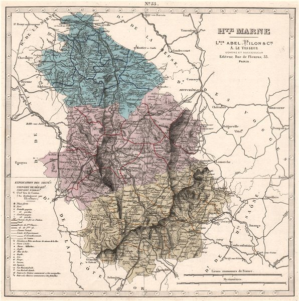 Associate Product HAUTE-MARNE department showing resources & minerals. LE VASSEUR 1876 old map