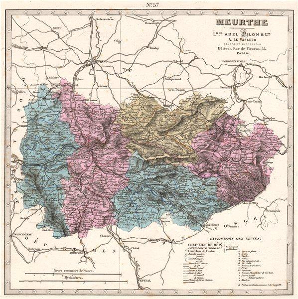 Associate Product MEURTHE France department. Battles/dates resources minerals. LE VASSEUR 1876 map