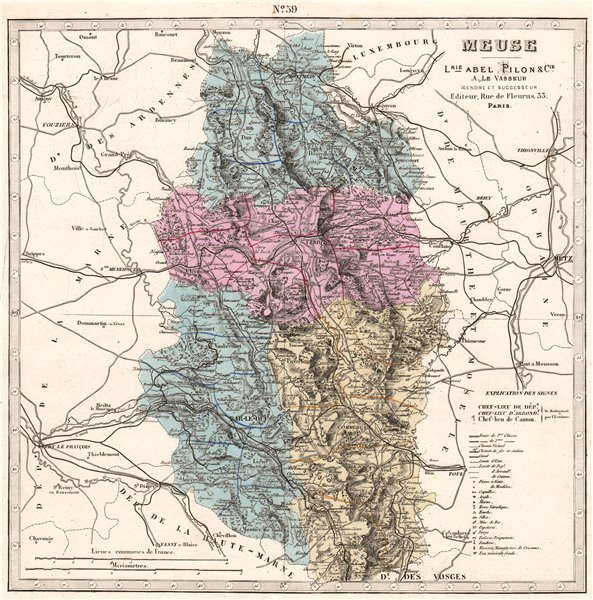 Associate Product MEUSE department showing resources & minerals. LE VASSEUR 1876 old antique map