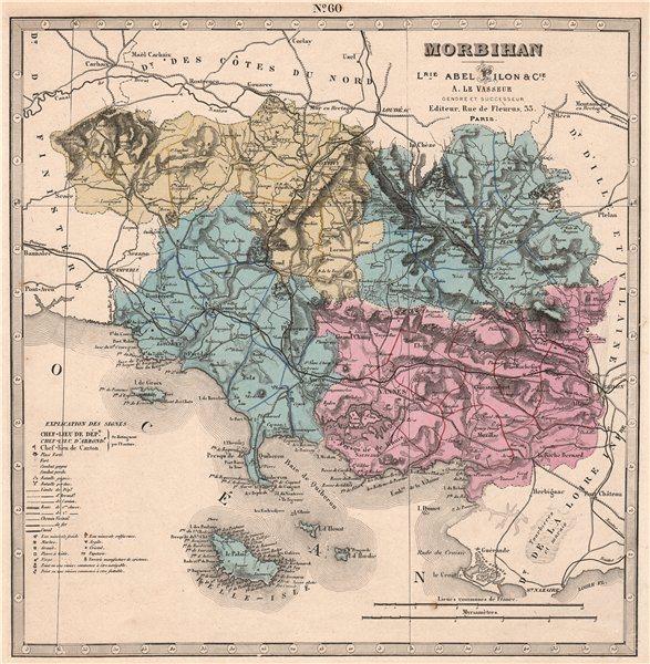 Associate Product MORBIHAN department. Battlefields/dates resources minerals. LE VASSEUR 1876 map