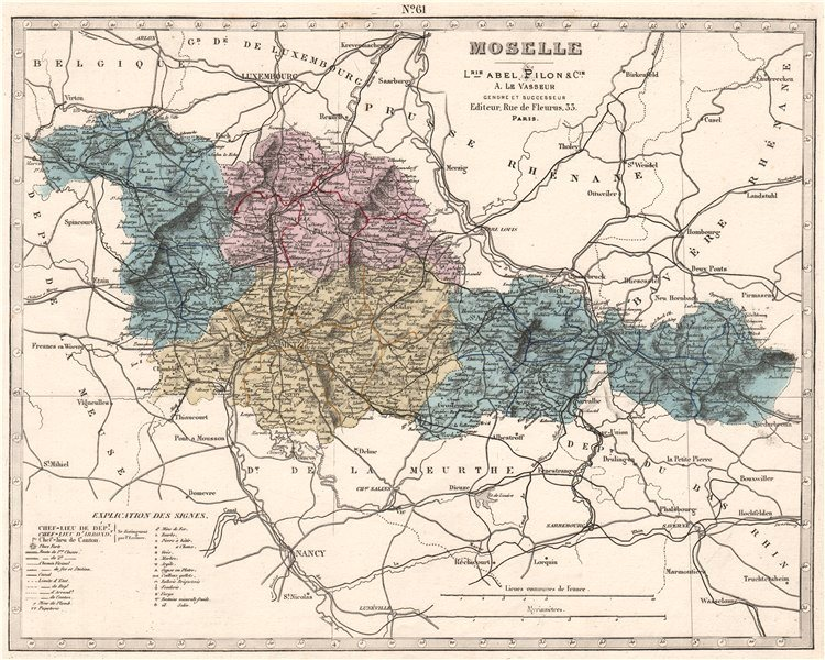 Associate Product MOSELLE department showing resources & minerals. LE VASSEUR 1876 old map