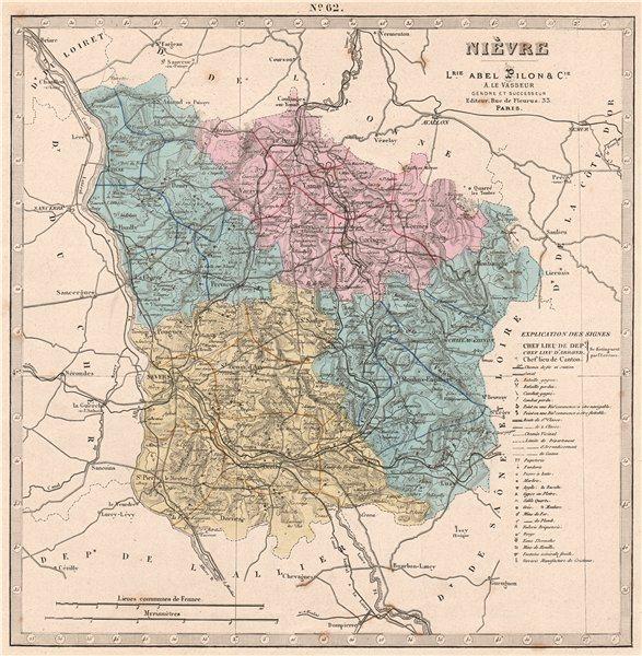 Associate Product NIÈVRE department. Battlefields/dates, resources & minerals. LE VASSEUR 1876 map