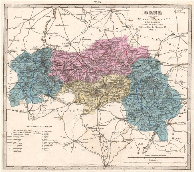 ORNE department showing resources & minerals. LE VASSEUR 1876 old antique map