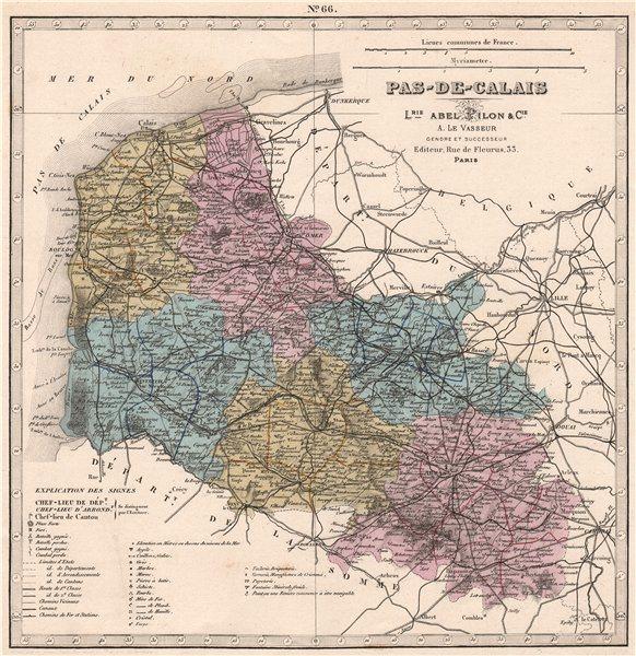 Associate Product PAS-DE-CALAIS department. Battles/dates resources minerals. LE VASSEUR 1876 map