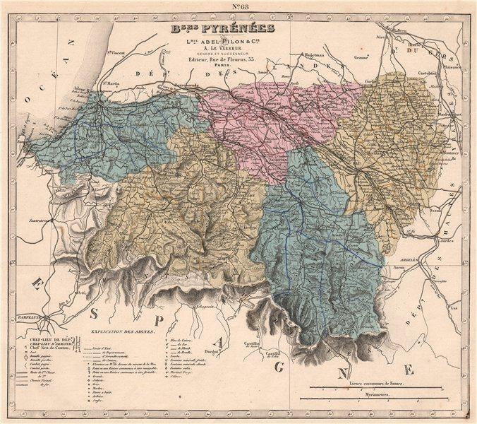 Associate Product BASSES-PYRÉNÉES-Atlantiques department. Battles. Resources. LE VASSEUR 1876 map