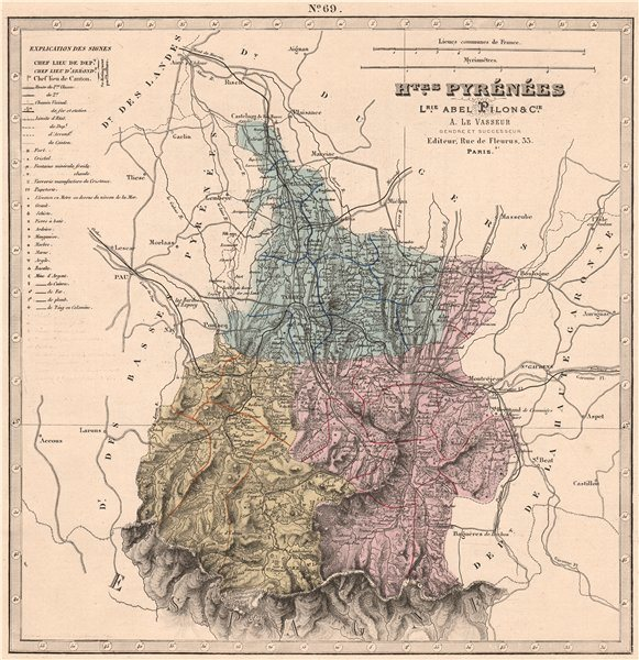 Associate Product HAUTES-PYRÉNÉES department showing resources & minerals. LE VASSEUR 1876 map