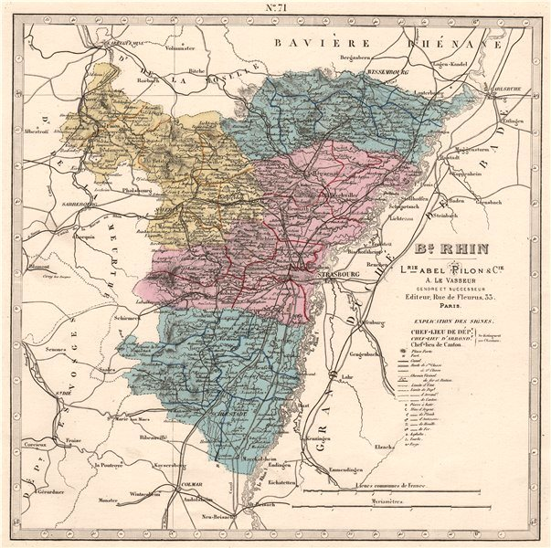 Associate Product BAS-RHIN department showing resources & minerals. LE VASSEUR 1876 old map