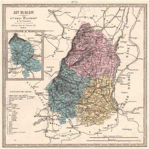 Associate Product HAUT-RHIN & TERRITOIRE DE BELFORT departments. Resources. LE VASSEUR 1876 map