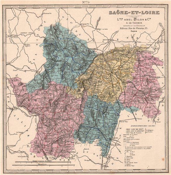 Associate Product SAÔNE-ET-LOIRE department showing resources & minerals. LE VASSEUR 1876 map