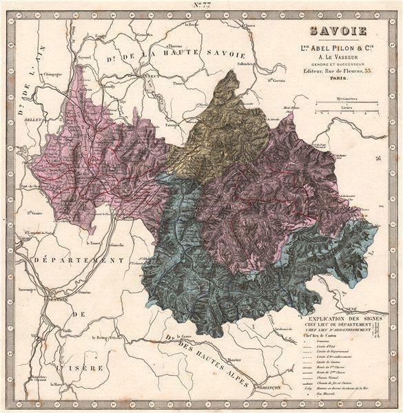 Associate Product SAVOIE department showing resources & minerals. LE VASSEUR 1876 old map