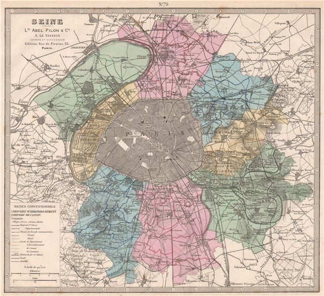 Associate Product SEINE France department showing resources & minerals. LE VASSEUR 1876 old map