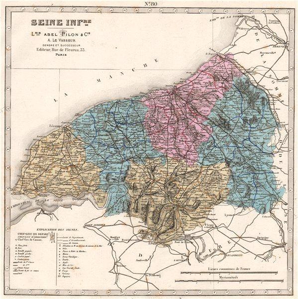 Associate Product SEINE-INFERIEURE/Maritime department. Battles. Resources. LE VASSEUR 1876 map