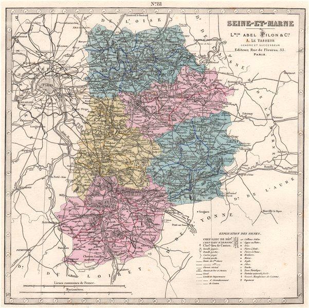 Associate Product SEINE-ET-MARNE department. Battles/dates resources minerals. LE VASSEUR 1876 map