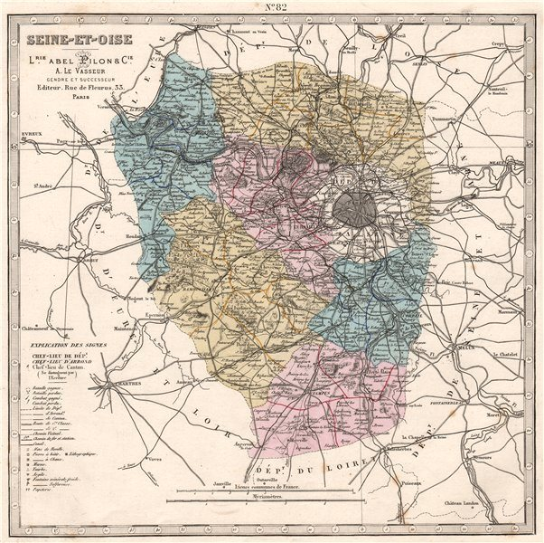 Associate Product SEINE-ET-OISE department. Battles/dates resources minerals. LE VASSEUR 1876 map