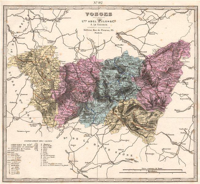Associate Product VOSGES department. Battlefields/dates, resources & minerals. LE VASSEUR 1876 map