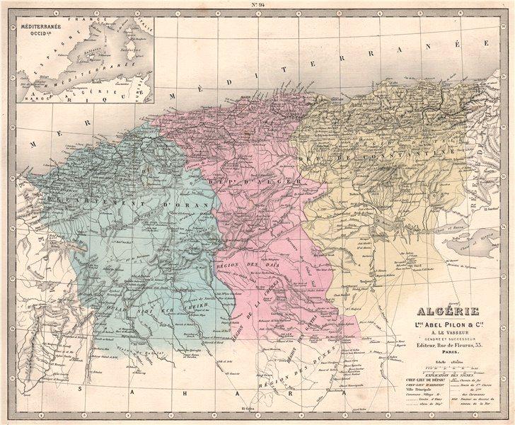 ALGÉRIE. Algeria in departements. Alger Oran Constantine. LE VASSEUR 1876 map
