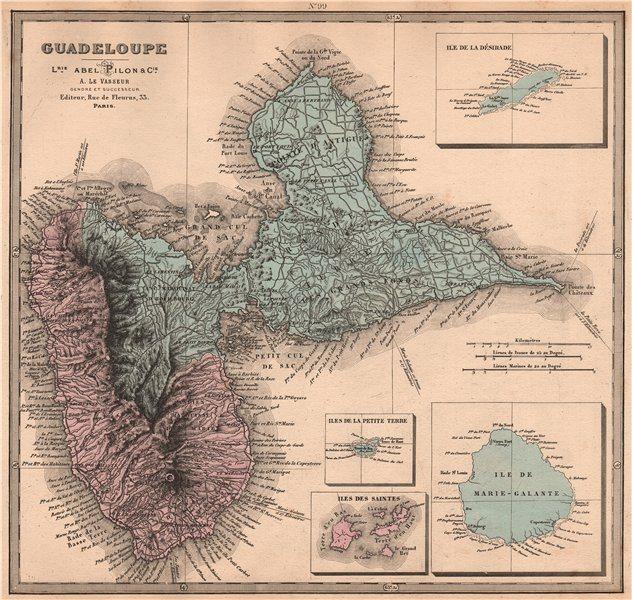 Associate Product Ile de GUADELOUPE Marie-Galante Saintes Désirade. Antilles françaises 1876 map