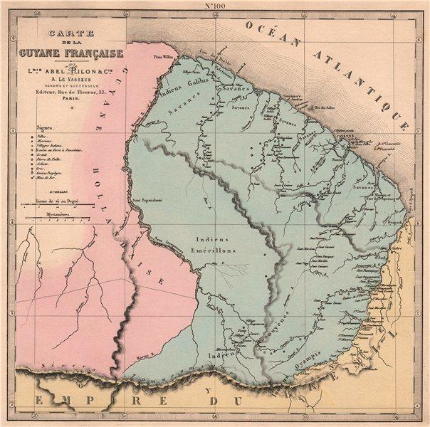 Associate Product GUYANE FRANÇAISE. French Guiana. Missions. Indian villages. LE VASSEUR 1876 map