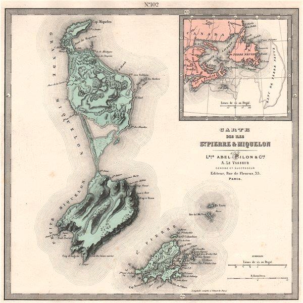 Associate Product ILES ST. PIERRE & MIQUELON. Saint Pierre. Relief & towns. LE VASSEUR 1876 map