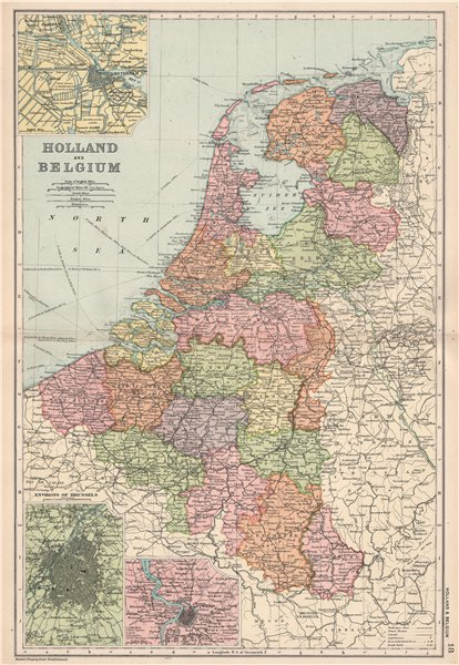 Associate Product BELGIUM & NETHERLANDS w/ battlefields/dates. Amsterdam Brussels. BACON 1903 map