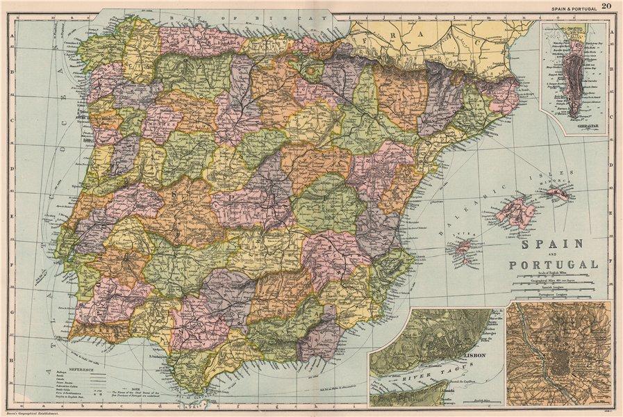 Associate Product IBERIA Spain Portugal. Battles/dates. Gibraltar Lisbon Madrid. BACON 1903 map