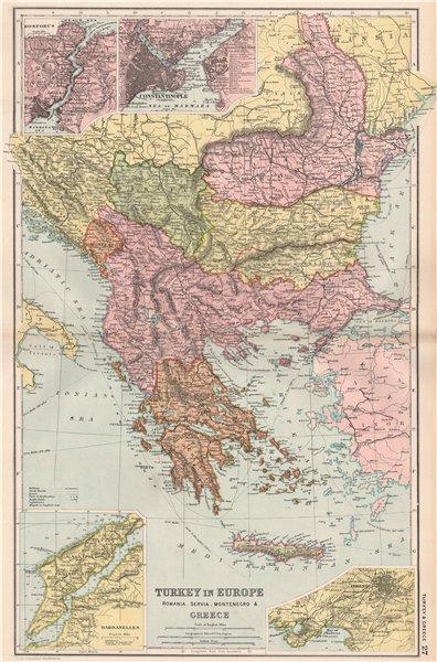 Associate Product TURKEY IN EUROPE. Bosphorus Constantinople Dardanelles Cretan State 1903 map