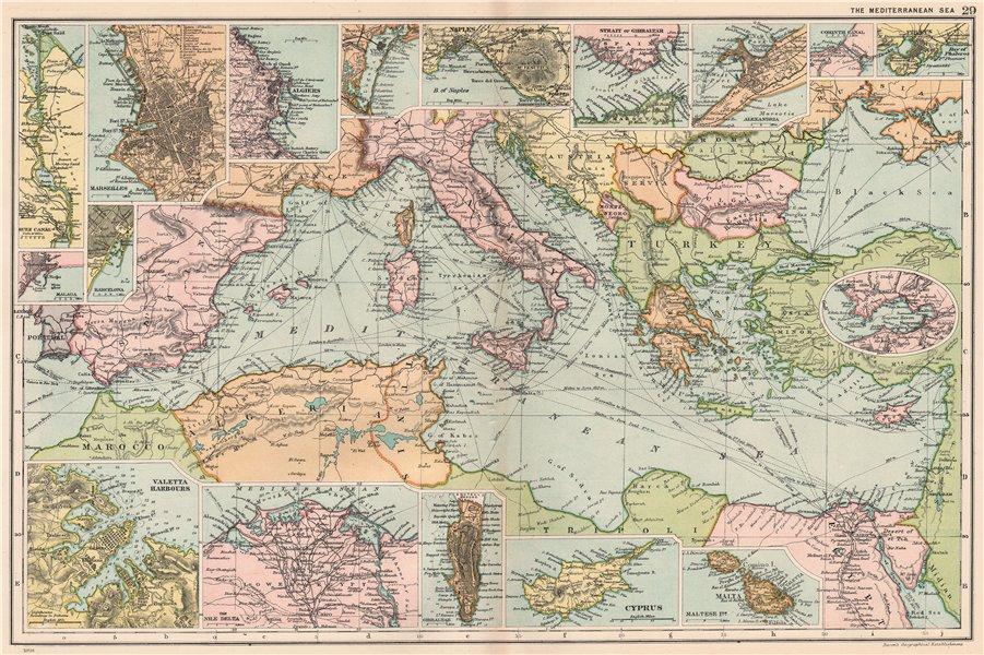 Associate Product MEDITERRANEAN PORTS. Marseille Gibraltar Valetta Naples Algiers Piraeus 1903 map