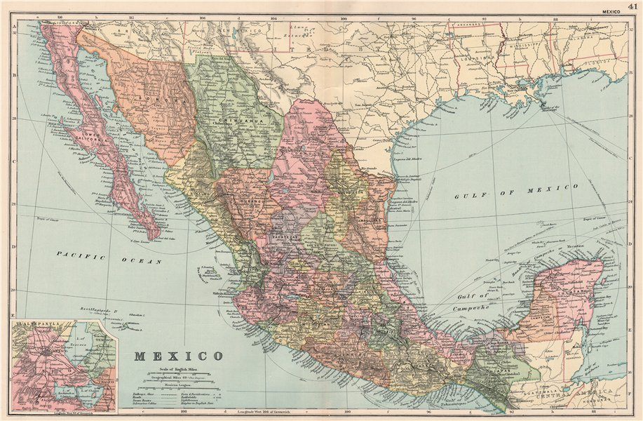 Associate Product MEXICO. Shows states & railways. Inset environs of Mexico City. BACON 1903 map