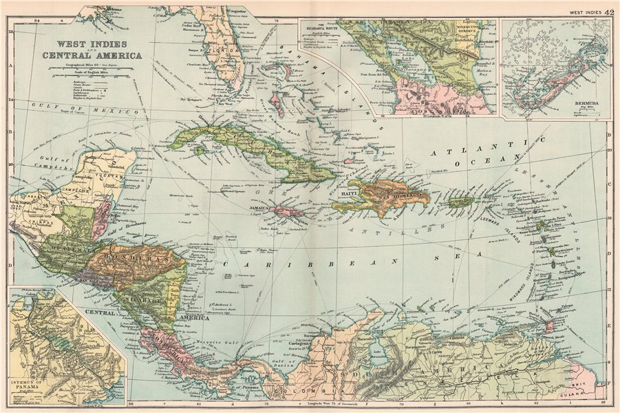 Associate Product CARIBBEAN. West Indies and Central America; inset Panama Canal; Bermuda 1903 map