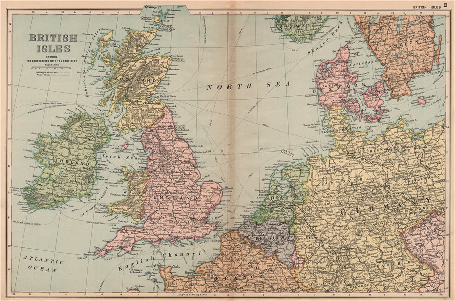 Associate Product BRITISH ISLES/NW EUROPE Continental connections. Steamship routes.BACON 1904 map