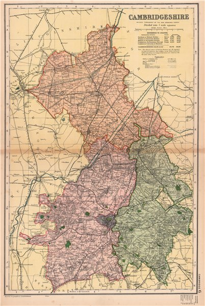 Associate Product CAMBRIDGESHIRE. Showing Parliamentary divisions,boroughs & parks.BACON 1901 map