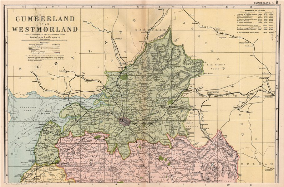 Associate Product CUMBERLAND (NORTH). Showing Parliamentary divisions & parks. BACON 1901 map