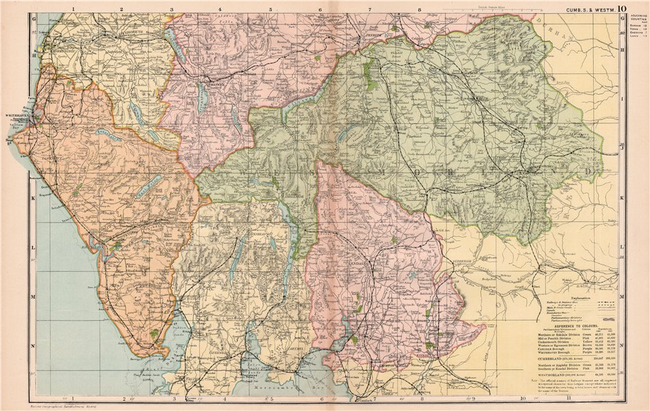 Associate Product ENGLISH LAKE DISTRICT. Cumberland S/Westmoreland. Parliamentary. BACON 1901 map