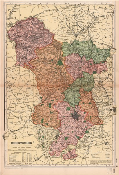 Associate Product DERBYSHIRE. Showing Parliamentary divisions, boroughs & parks. BACON 1904 map