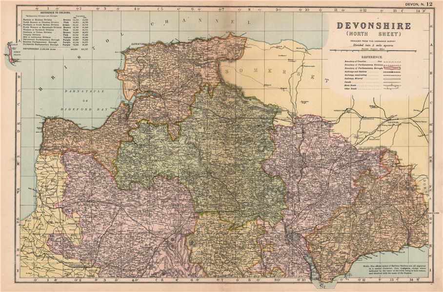 Associate Product DEVONSHIRE (NORTH). Parliamentary divisions. Parks. Devon. BACON 1904 old map