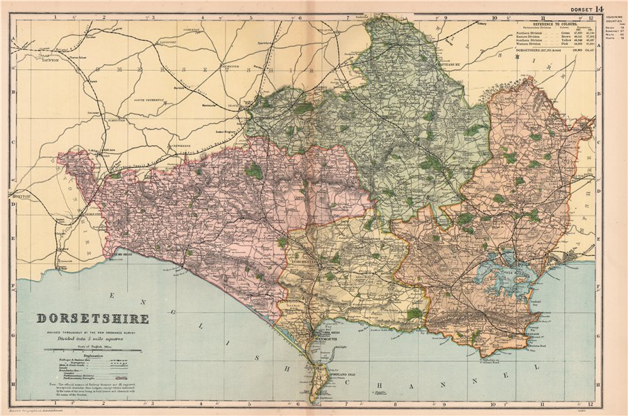 Associate Product DORSETSHIRE. Parliamentary divisions, boroughs & parks. Dorset. BACON 1901 map