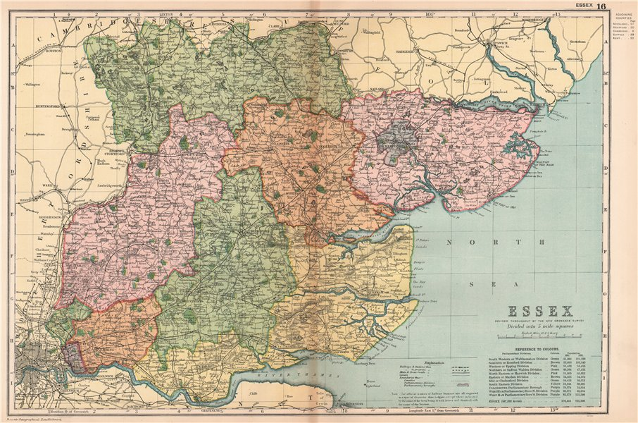 Associate Product ESSEX. Showing Parliamentary divisions, boroughs & parks. BACON 1904 old map