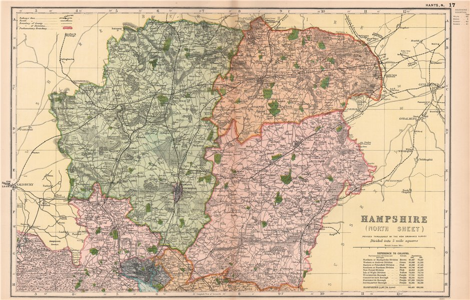 Associate Product HAMPSHIRE (NORTH). Showing Parliamentary divisions & parks. BACON 1904 old map
