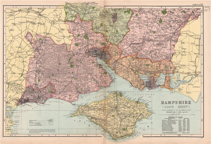 HAMPSHIRE (SOUTH)& ISLE OF WIGHT. Parliamentary divisions & parks.BACON 1904 map
