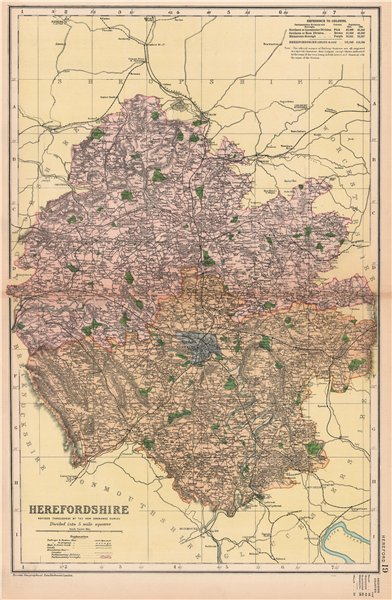HEREFORDSHIRE. Showing Parliamentary divisions, boroughs & parks. BACON 1904 map