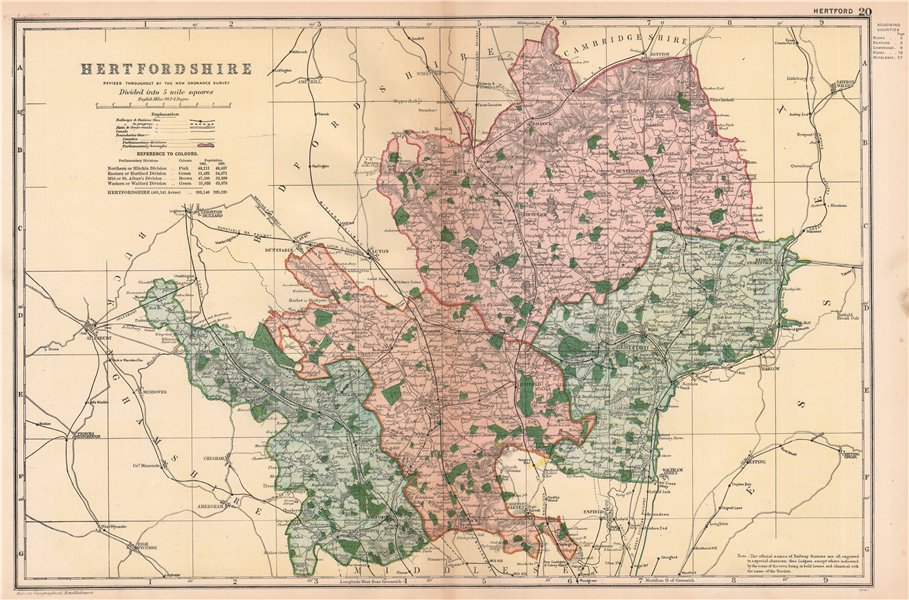 Associate Product HERTFORDSHIRE. Showing Parliamentary divisions, boroughs & parks. BACON 1901 map