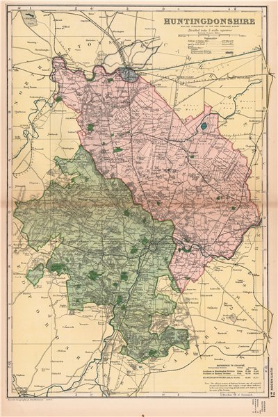 Associate Product HUNTINGDONSHIRE. Showing Parliamentary divisions,boroughs & parks.BACON 1901 map
