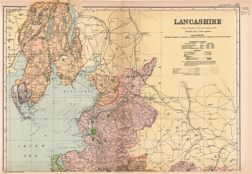 Associate Product LANCASHIRE (NORTH). Showing Parliamentary divisions & parks. BACON 1901 map