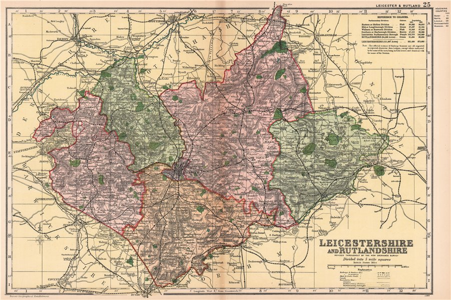 Associate Product LEICESTERSHIRE AND RUTLANDSHIRE. Parliamentary divisions & parks. BACON 1904 map