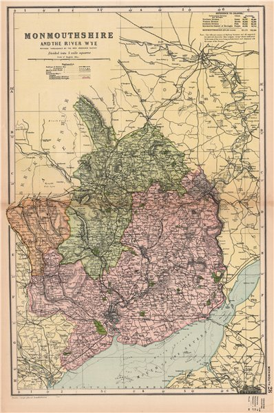 Associate Product MONMOUTHSHIRE AND THE RIVER WYE. Constituencies,boroughs & parks.BACON 1904 map
