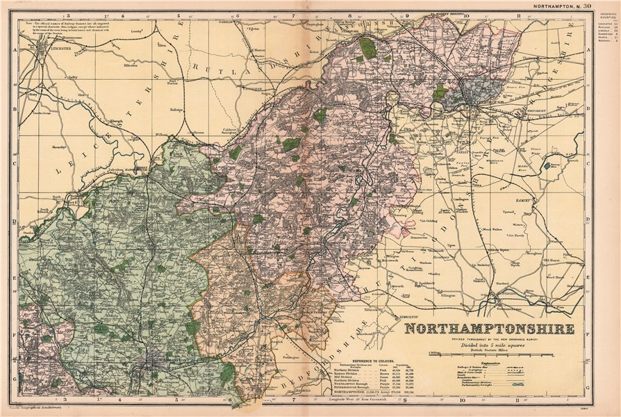 Associate Product NORTHAMPTONSHIRE (NORTH). Constituencies, boroughs & parks. BACON 1901 old map