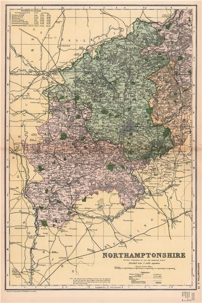Associate Product NORTHAMPTONSHIRE (SOUTH). Constituencies, boroughs & parks. BACON 1901 old map