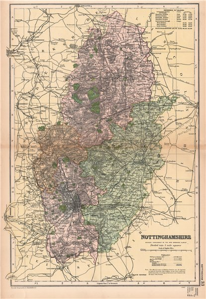 Associate Product NOTTINGHAMSHIRE. Showing Parliamentary divisions,boroughs & parks.BACON 1901 map