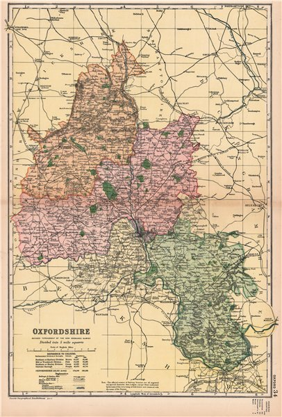 Associate Product OXFORDSHIRE. Showing Parliamentary divisions, boroughs & parks. BACON 1901 map